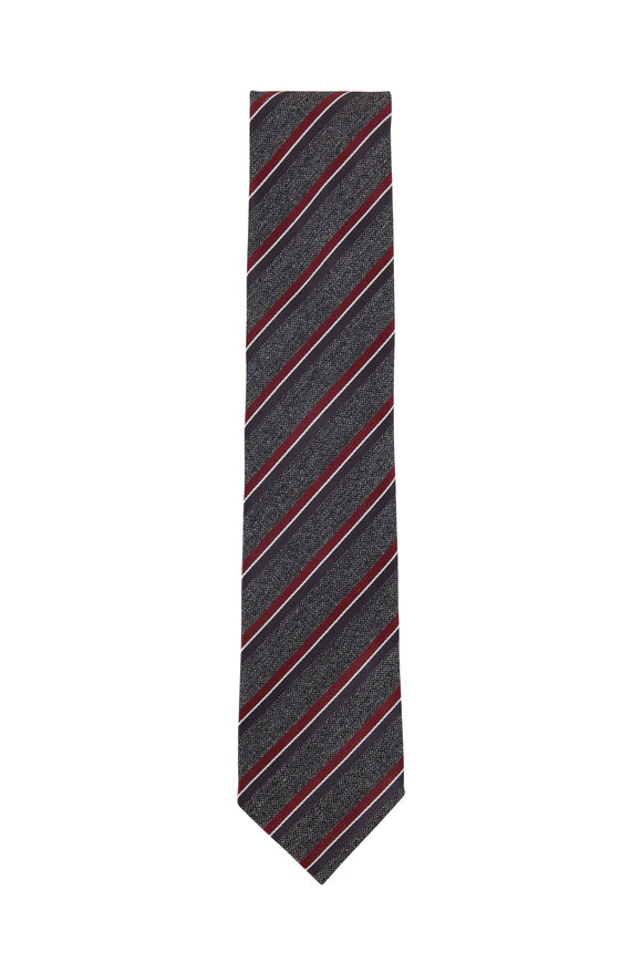 Gray & Red Striped Silk Necktie
