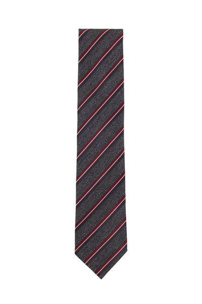 Ermenegildo Zegna - Gray & Red Striped Silk Necktie