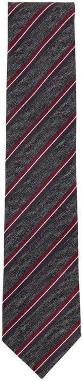 Ermenegildo Zegna Gray & Red Striped Silk Necktie