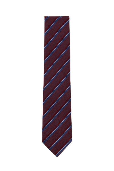 Ermenegildo Zegna - Burgundy & Blue Striped Silk Necktie