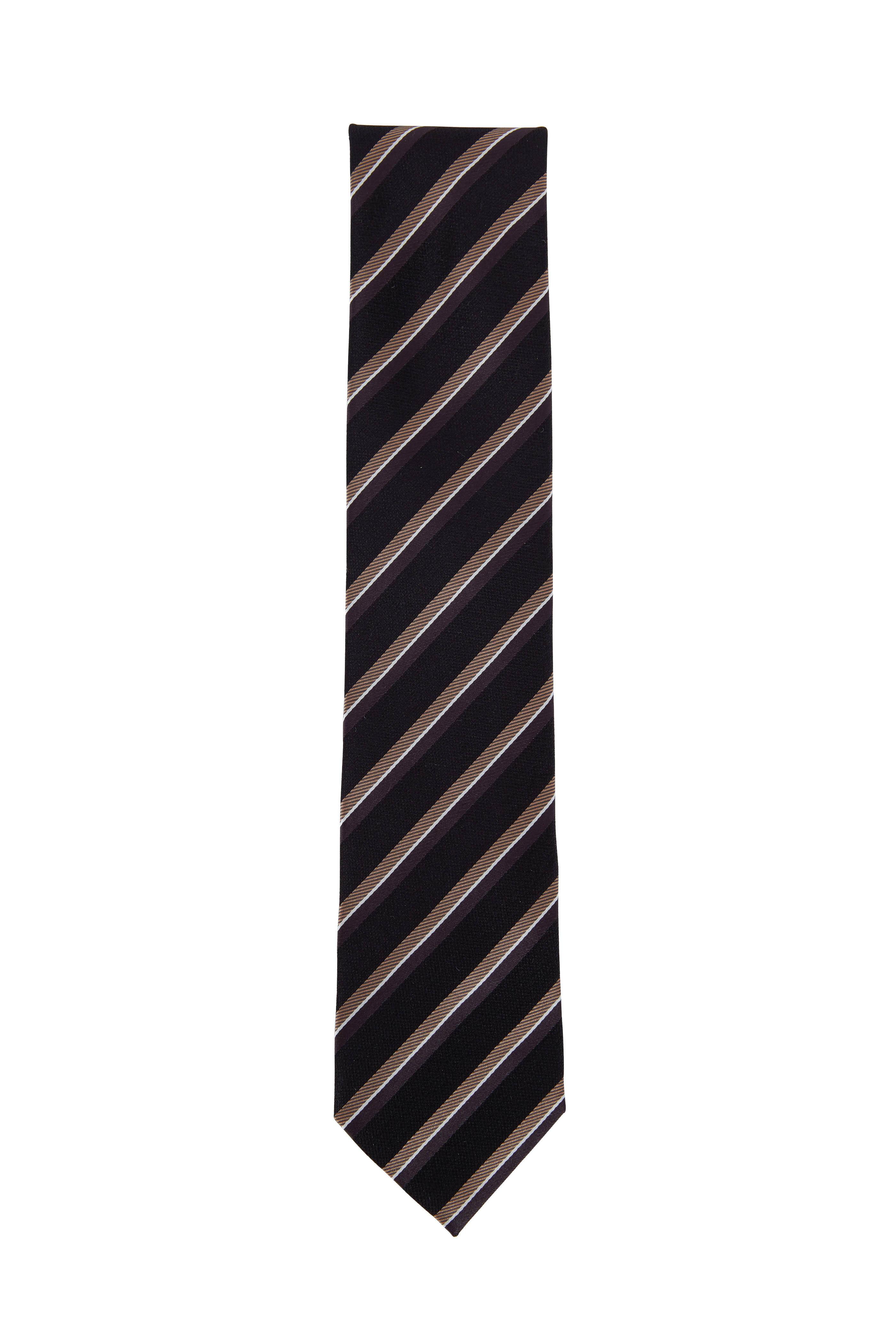 52a8d20f83 Ermenegildo Zegna - Black Striped Silk Necktie | Mitchell Stores
