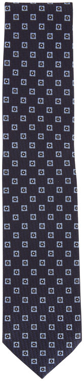 Ermenegildo Zegna Navy Blue Geometric Silk Necktie