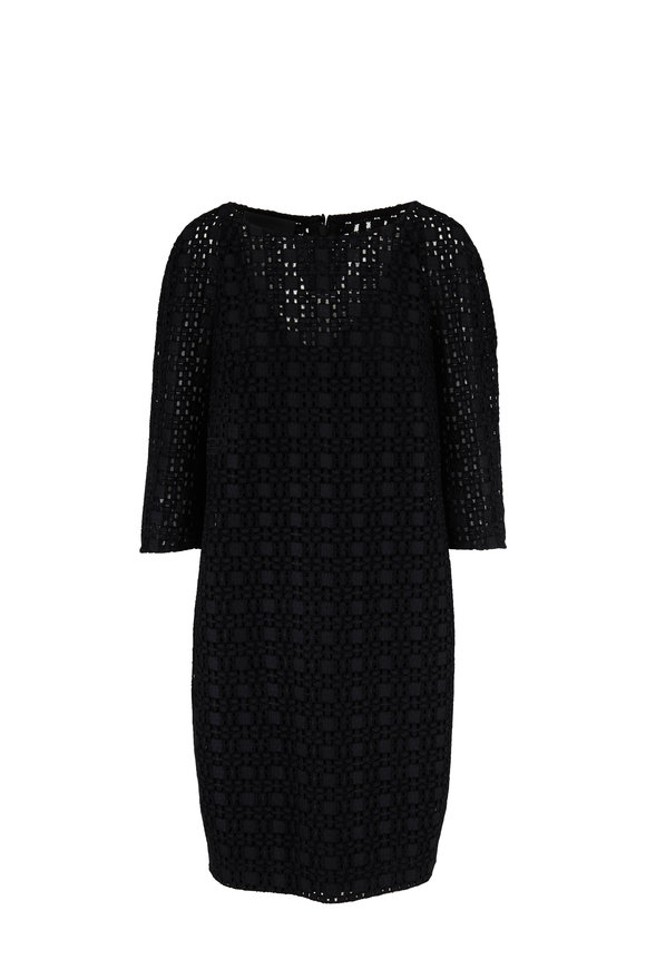 Akris Black Plaid Embroidered Eyelet Lace Dress