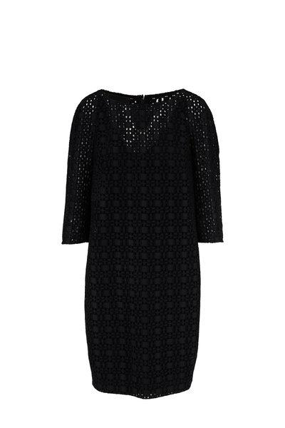 Akris - Black Plaid Embroidered Eyelet Lace Dress