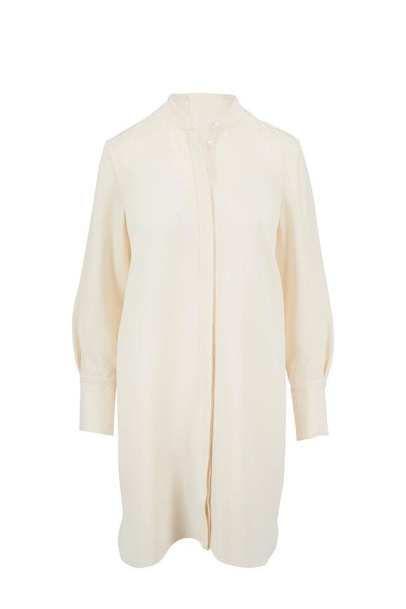 Partow Ivory Silk Crepe Shirtdress