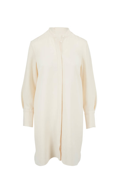 Partow - Ivory Silk Crepe Shirtdress