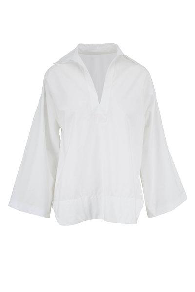 Nili Lotan - Mae White Poplin Popover Blouse
