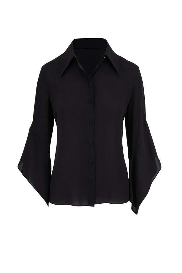 Michael Kors Collection Black Silk Georgette Draped Sleeve Blouse