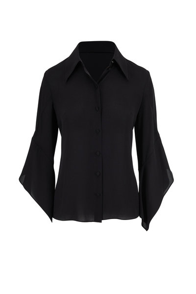 Michael Kors Collection - Black Silk Georgette Draped Sleeve Blouse