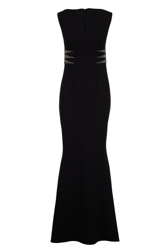 Safiyaa Lennon Black Crêpe Jeweled Sleeveless Gown