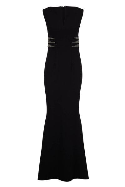 Safiyaa - Lennon Black Crêpe Jeweled Sleeveless Gown