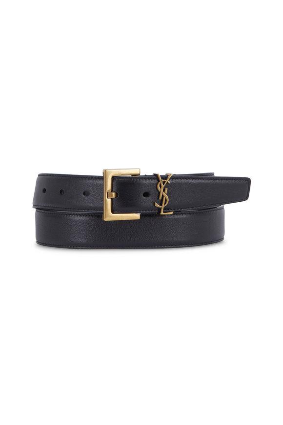 Saint Laurent Monogramme Black Leather Logo Belt