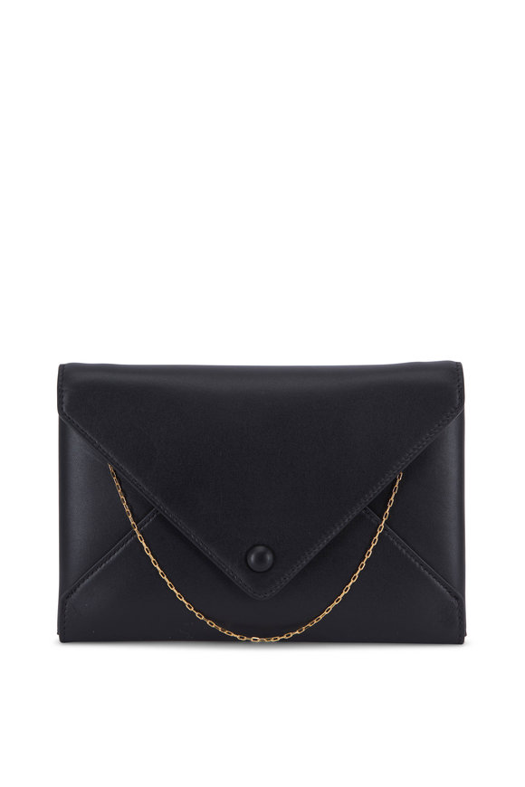 The Row Black Leather Mini Envelope Clutch