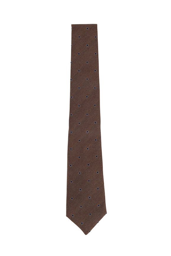 Brunello Cucinelli Brown & Navy Dot Silk Necktie