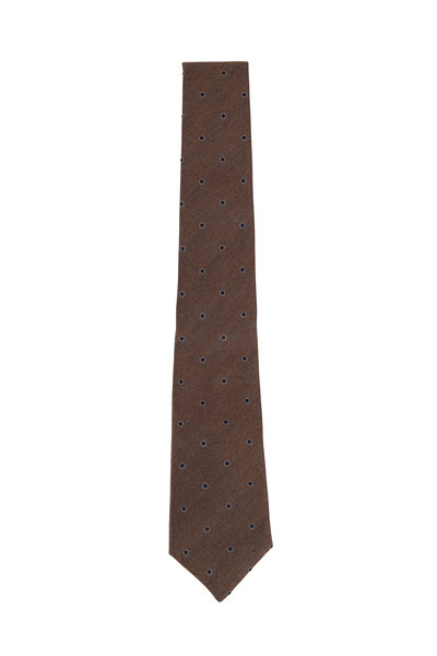 Brunello Cucinelli - Brown & Navy Dot Silk Necktie