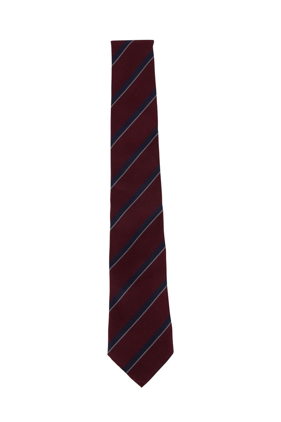 Brunello Cucinelli Burgundy & Navy Stripe Silk Necktie