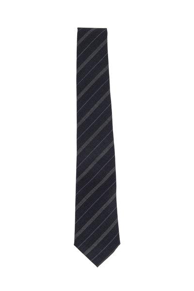 Brunello Cucinelli - Medium & Dark Gray Striped Wool Necktie