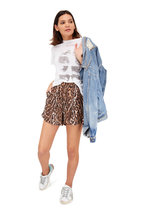 R13 - Leopard Pleated High-Rise Shorts