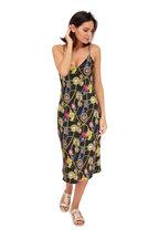L'Agence - Jodie Black Silk Jewel Print Slip Dress