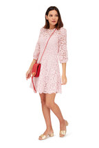 Valentino - Blush Heavy Lace Three-Quarter Sleeve Dress