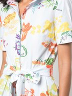 Carolina Herrera - Blue Floral & Stripe Stretch Cotton Shirtdress