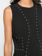 Michael Kors Collection - Black Crêpe Studded Sleeveless Sheath Dress