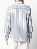Brunello Cucinelli - Multicolor Poplin Vertical Striped Blouse