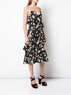 Michael Kors Collection - Black & Ivory Daisy Print Ruffled Cami Dress