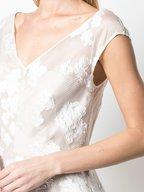 Lela Rose - Ivory Floral Cap-Sleeve Full Skirt Dress