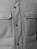 Isaia - Gray Wool Fur Trim Jacket