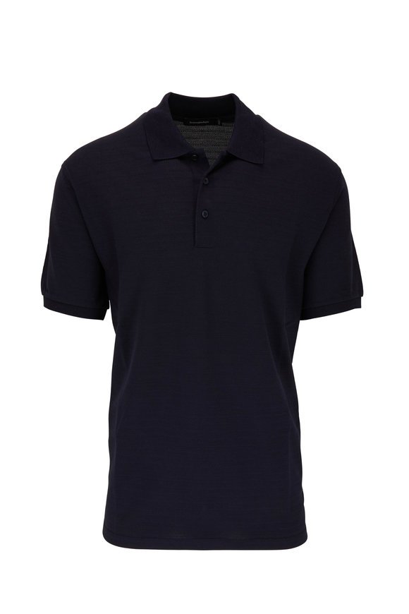 Navy Blue Textured Cotton Blend Polo