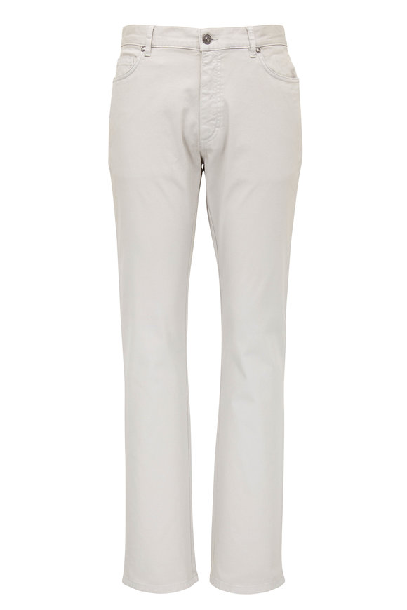 Ermenegildo Zegna Light Gray Canvas Five Pocket Pant