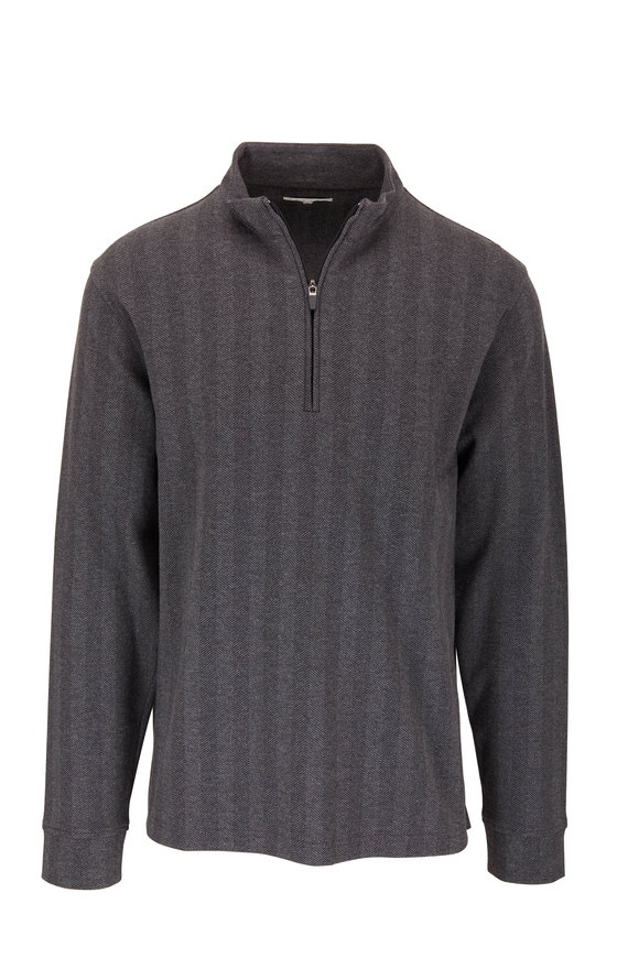 Vastrm Charcoal Gray Herringbone Quarter-Zip Pullover