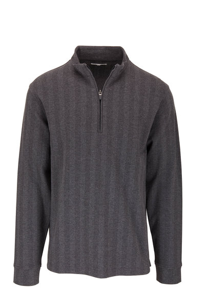 Vastrm - Charcoal Gray Herringbone Quarter-Zip Pullover