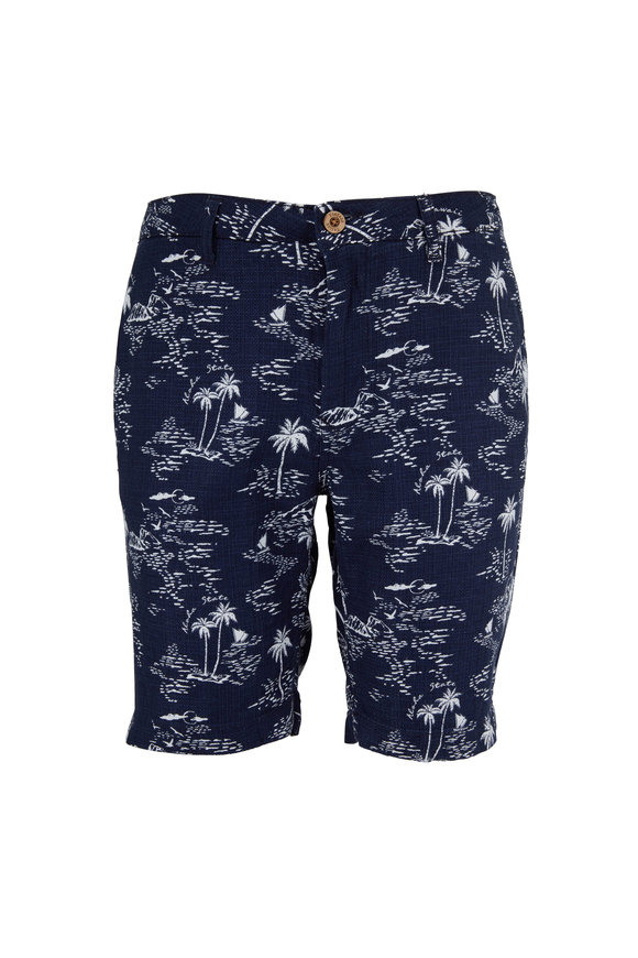 Tailor Vintage Navy Pacific Printed Cotton & Linen Shorts