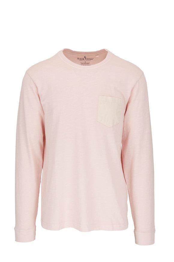 Tailor Vintage Pink Cotton Patch Pocket Long Sleeve T-Shirt
