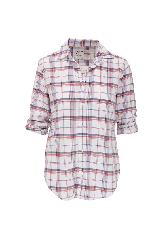 Frank & Eileen Frank Red, Navy & White Plaid Button Down