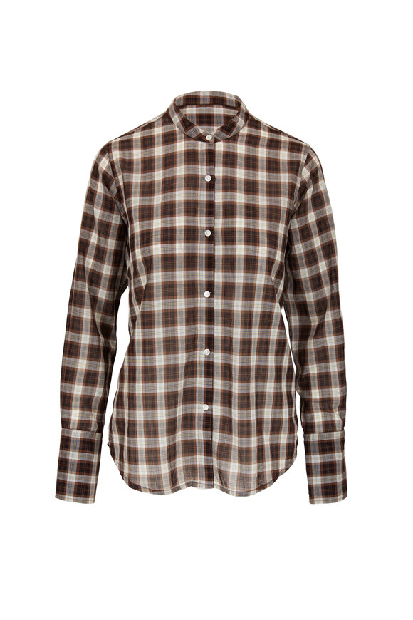 Nili Lotan Judith Mocha Plaid Cotton Shirt