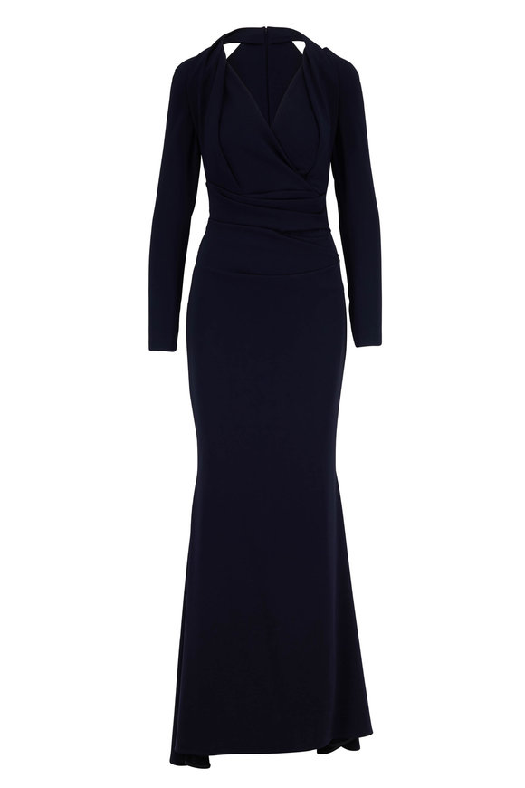 Talbot Runhof Tosia1 Midnight Cut Out Shoulder Gown