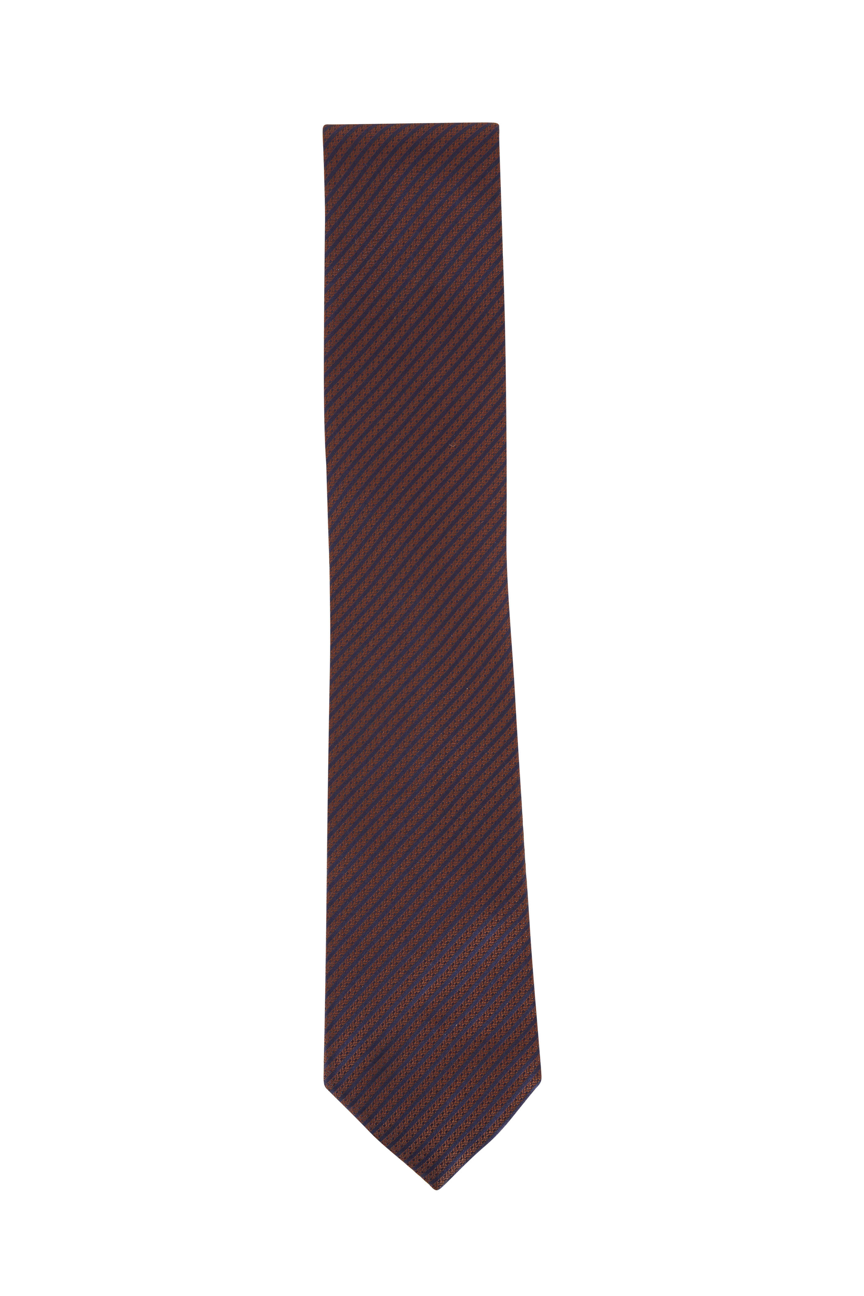 9b8a6a4a Ermenegildo Zegna - Burgundy & Black Stripe Silk Necktie | Mitchell ...