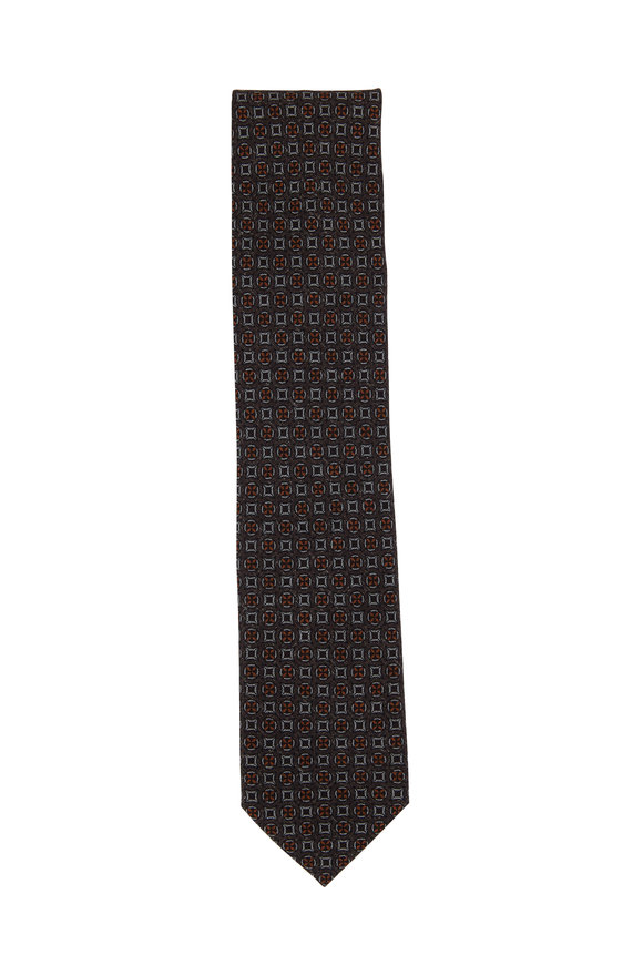 Brioni Brown & Orange Geometric Wool & Silk Necktie