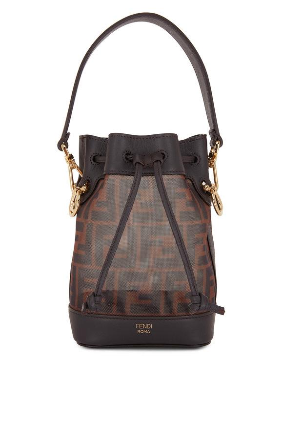 Fendi Mon Tresor Brown Leather & Mesh Mini Bucket Bag