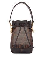 Fendi - Mon Tresor Brown Leather & Mesh Mini Bucket Bag