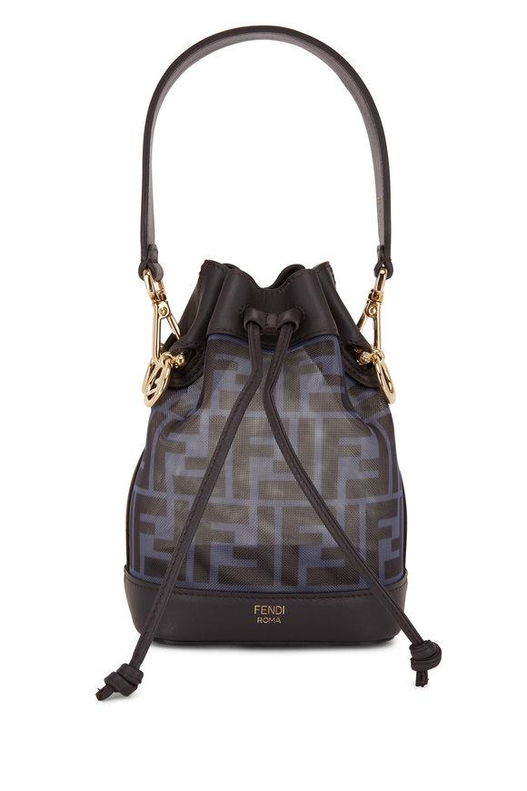 Fendi Mon Tresor Charcaol Leather & Blue Mesh Mini Bag
