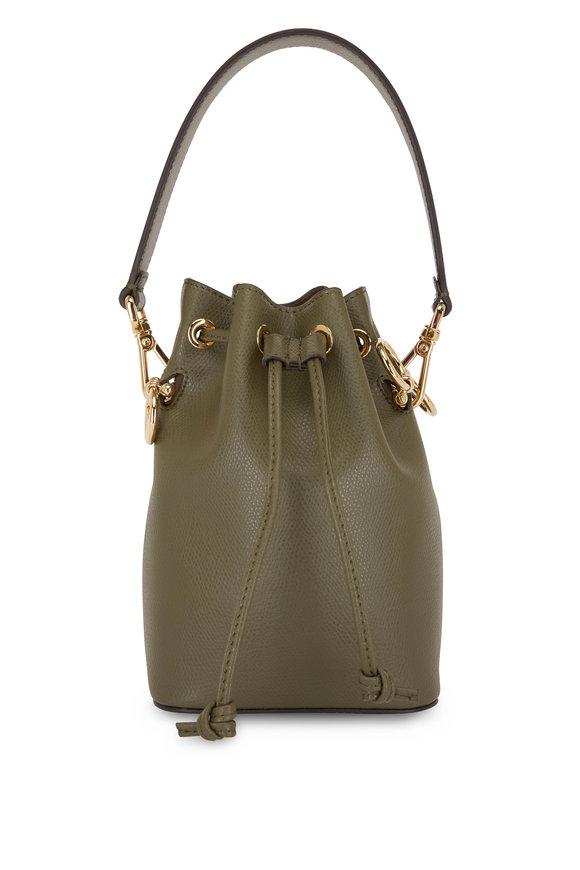 Fendi Mon Tresor Army Green Leather Mini Bucket Bag