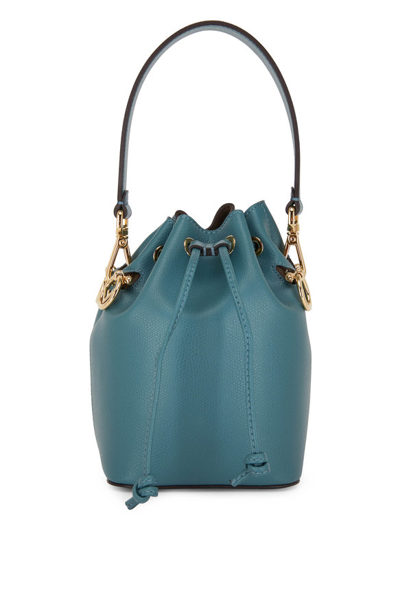 Fendi Mon Tresor Teal Leather Mini Bucket Bag