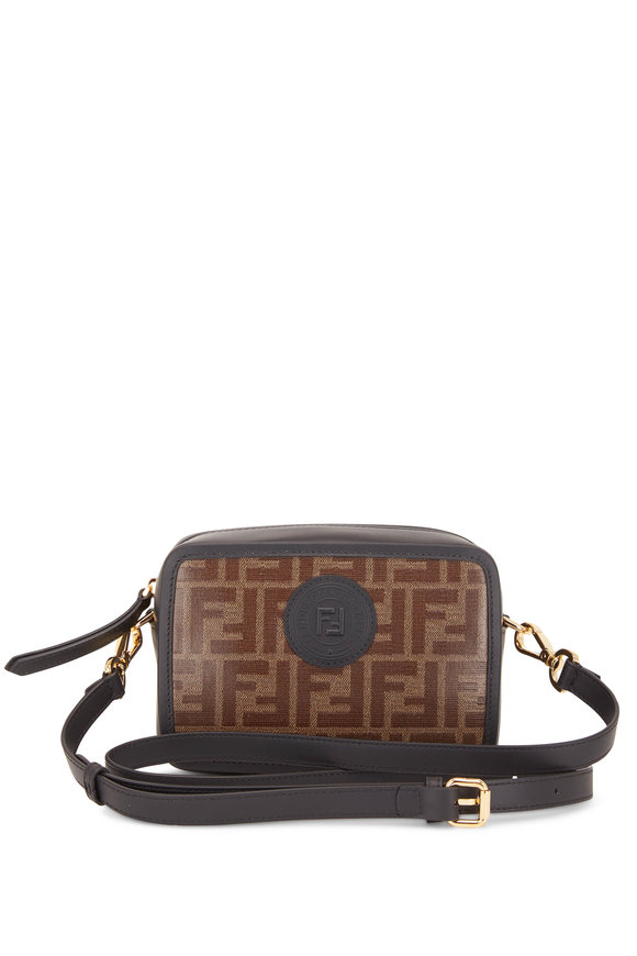 Fendi Black & Brown Coated FF Camera Bag