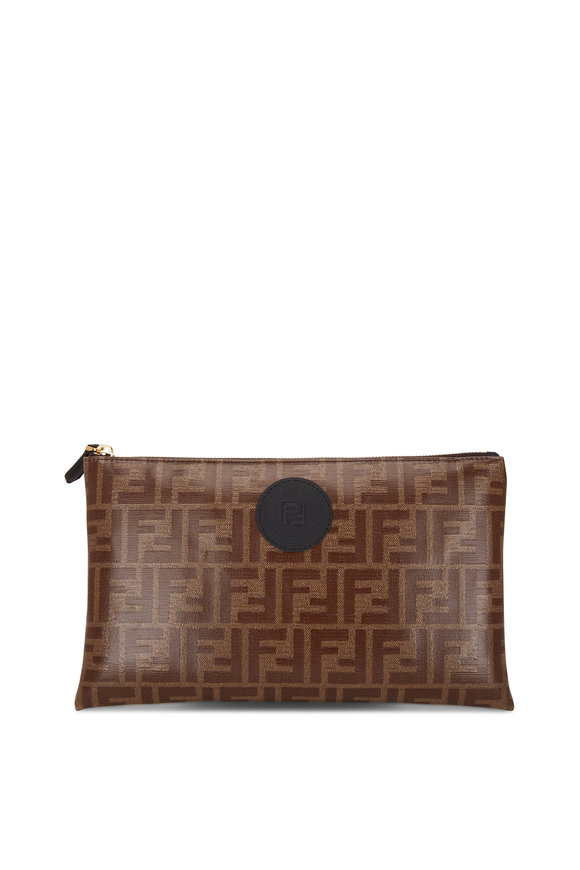 Fendi Brown Coated Leather FF Zip Pouch
