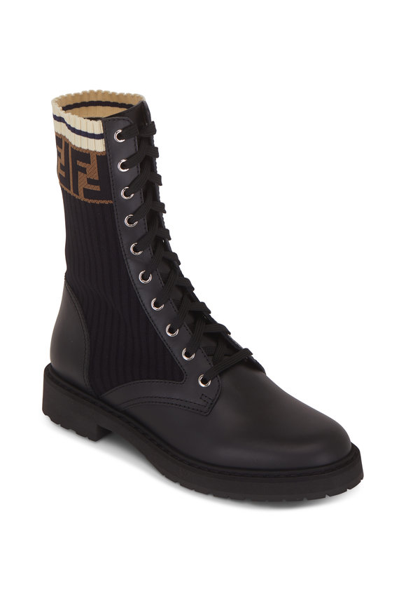 Fendi Black Leather & Logo Sock Combat Boot