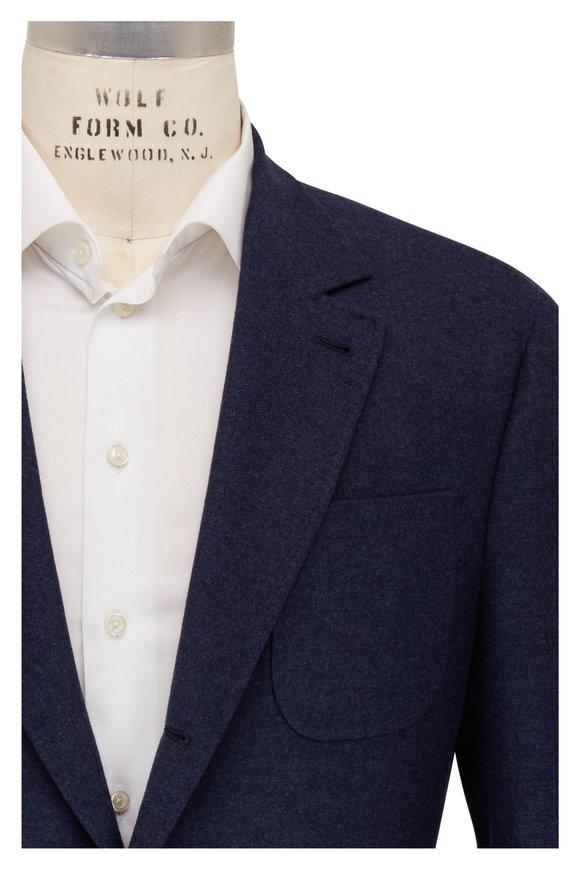 Brunello Cucinelli Navy Wool & Cashmere Sportcoat